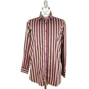 Etro Milano Colorful Striped Button Front Shirt